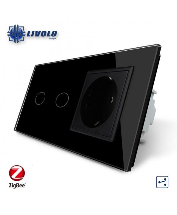 Livolo 2 Gang 2 Way + Socket - ZigBee
